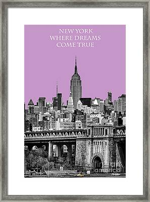 The Empire State Building Pantone African Violet Light Framed Print by John Farnan