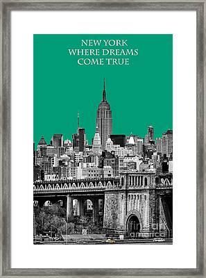 The Empire State Building Pantone Emerald Framed Print by John Farnan