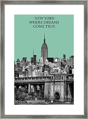 The Empire State Building Pantone Jade Framed Print by John Farnan