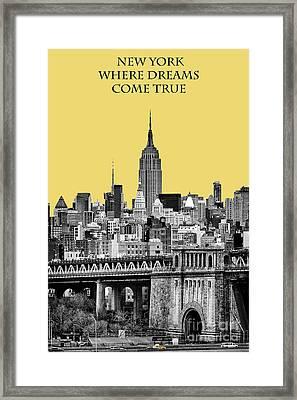 The Empire State Building Pantone Lemon Framed Print by John Farnan
