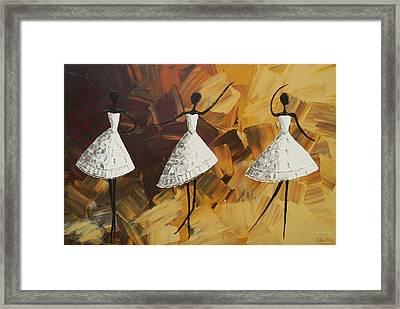 The Encore - Three Dancers In White Framed Print by Christine Krainock