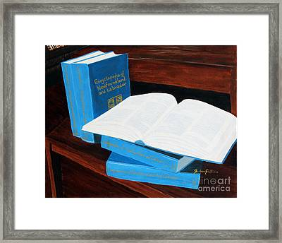 The Encyclopedia Of Newfoundland And Labrador - Joeys Books Framed Print by Barbara Griffin