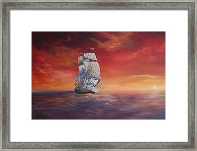 The Endeavour On Calm Seas Framed Print by Jean Walker
