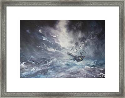 The Endeavour On Stormy Seas Framed Print by Jean Walker