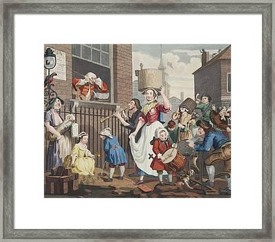 The Enraged Musician, Illustration Framed Print by William Hogarth