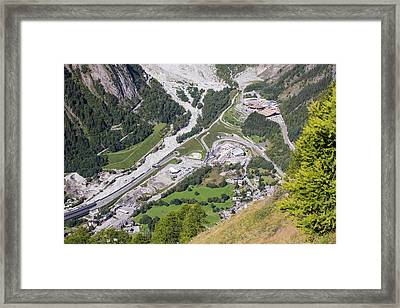 The Entrance To The Mont Blanc Tunnel Framed Print by Ashley Cooper