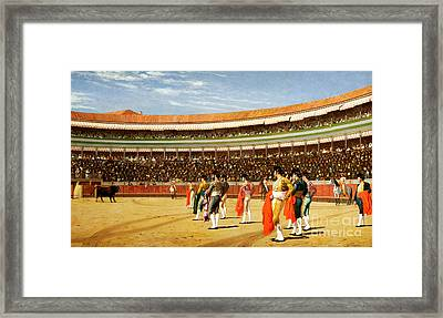 The Entry Of The Bull Framed Print by Jean Leon Gerome
