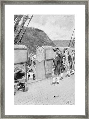 The Escape Of Arnold On The British Sloop-of-war Vulture, Illustration From General Washington Framed Print by Howard Pyle