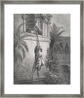 The Escape Of David Through The Window Framed Print by Gustave Dore