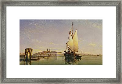 The Euganean Hills And The Laguna Of Venice - Trabaccola Waiting For The Tide Sunset Framed Print by Edward William Cooke