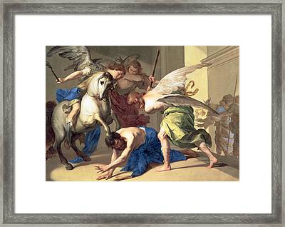 The Expulsion Of Heliodorus From The Temple Framed Print by Bernardo Cavallino