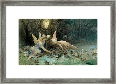 The Fairies From William Shakespeare Scene Framed Print by Gustave Dore