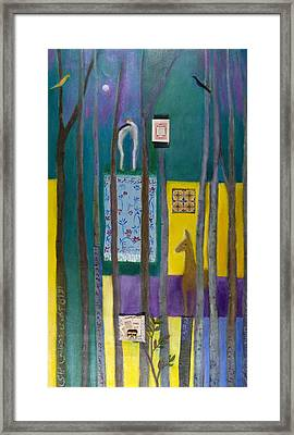 The Fall Of Adam And Eve, 2011 Oil And Collage On Canvas Framed Print by Roya Salari