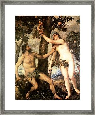 The Fall Of Man Framed Print by Titian