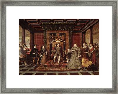 The Family Of Henry Viii An Allegory Of The Tudor Succession, C.1570-75 Panel Framed Print by Lucas de Heere