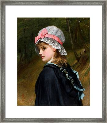 The Farmers Daughter Oil On Canvas Monogrammed And Dated 1883 Framed Print by Charles Sillem Lidderdale
