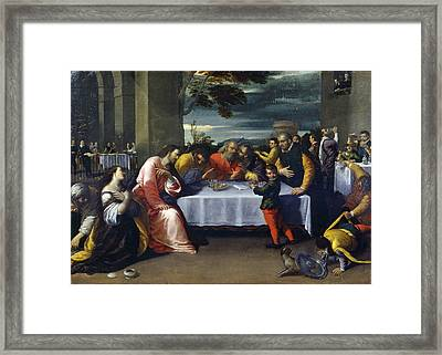 The Feast At The House Of Simon Framed Print by Ippolito Scarcella