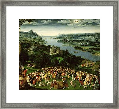 The Feeding Of The Five Thousand Oil On Panel Framed Print by Joachim Patenier or Patinir