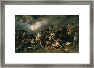 The Final Day Of Sagunto In 219bc, 1869 Oil On Canvas Framed Print by Francisco Domingo Marques