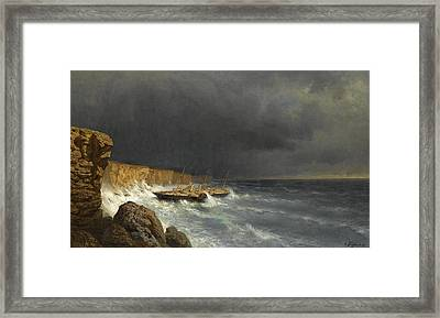 The Final Moments Of The Imperial Yacht Livadia  Framed Print by Alexey Petrovich Bogolyubov