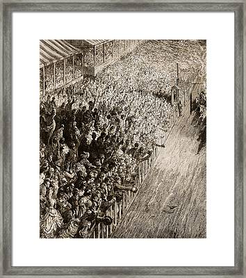 The Finishing Line Of The Derby Framed Print by Gustave Dore