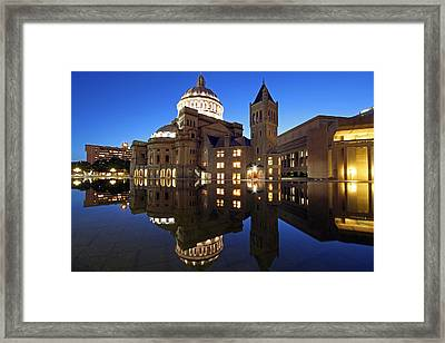 The First Church Of Christ At Twilight Framed Print by Juergen Roth