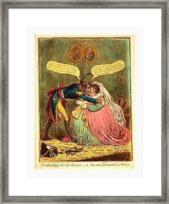 The First Kiss This Ten Years - Or - The Meeting Framed Print by English School