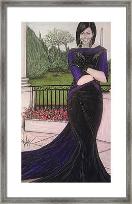 The First Lady Michelle Obama In Victoria Renee's Fashion Framed Print by Vicki  Jones