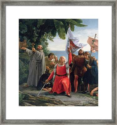 The First Landing Of Christopher Columbus In America Framed Print by  Dioscoro Teofilo Puebla Tolin