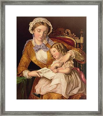 The First Lesson Framed Print by Samuel Baruch Halle