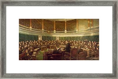 The First Meeting Of The London County Council In The County Hall, Spring Gardens Framed Print by Henry Jamyn Brooks