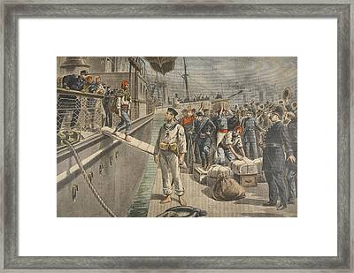 The First Prisoners At Key West Framed Print by French School