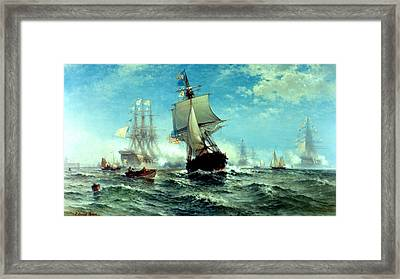 The First Recognition Of The American Flag By A Foreign Government Framed Print by Edward Moran