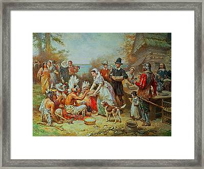 The First Thanksgiving Framed Print by Jean Leon Gerome Ferris