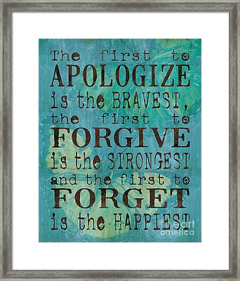 The First To Apologize Framed Print by Debbie DeWitt