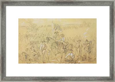 The First Virginia Cavalry At A Halt Framed Print by Alfred R Waud