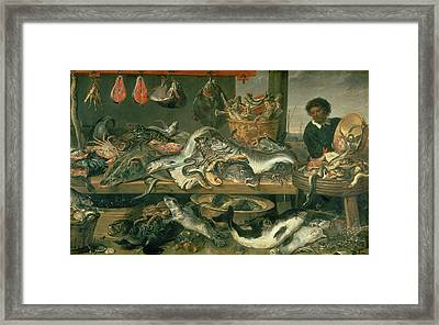 The Fish Market, 1618-21 Oil On Canvas Framed Print by Frans Snyders or Snijders