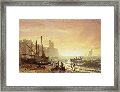 The Fishing Fleet Framed Print by Albert Bierstadt