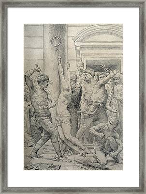 The Flagellation Of Christ Framed Print by William Adolphe Bouguereau