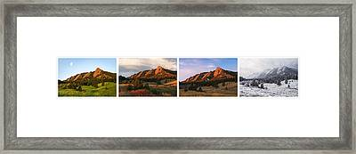 The Flatirons - Four Seasons Panorama Framed Print by Aaron Spong