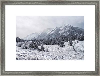 The Flatirons - Winter Framed Print by Aaron Spong