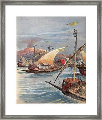 The Fleet Of Doria, Naples Framed Print by Albert Robida