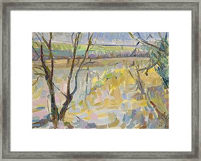 The Flooded Cherwell From Rousham II Oil On Canvas Framed Print by Erin Townsend