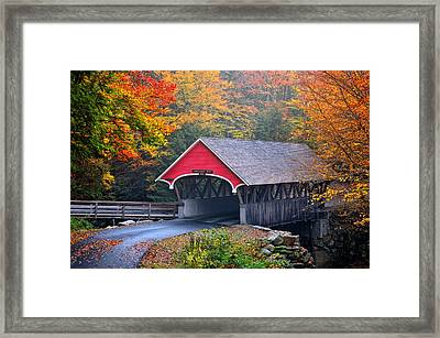 The Flume Covered Bridge Framed Print by Thomas Schoeller