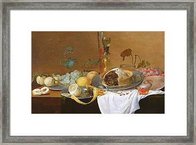 The Flute Of Wine  Framed Print by Jan Davidsz de Heem