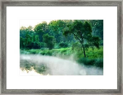 The Foggy Lake Framed Print by Kimberleigh Ladd