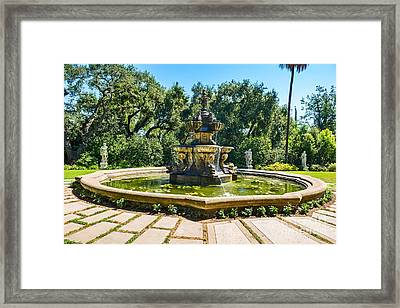 The Fountain - Iconic Fountain At The Huntington Library. Framed Print by Jamie Pham