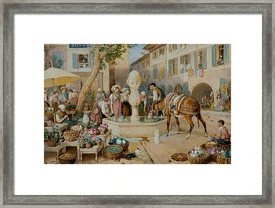 The Fountain At Toulon Framed Print by Myles Birket Foster