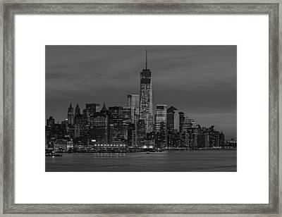The Freedom Tower Dominates The Skyline Bw Framed Print by Susan Candelario