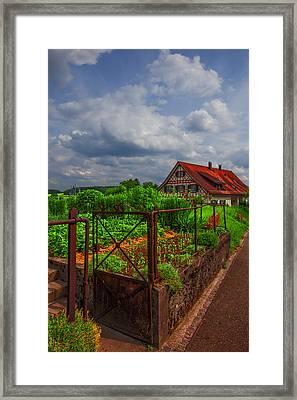 The Garden Gate Framed Print by Debra and Dave Vanderlaan